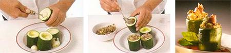 Calabacines rellenos de champiñones y anchoas