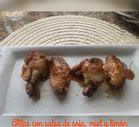 Alitas de pollo con salsa de soja miel y limón